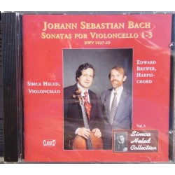 Bach: Sonater for cello nr. 1, 2, 3. Simca Heled, Edward Brewer. 1 CD. Classico