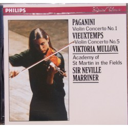Paganini: Violin Concerto no. 1. & Vieutemps: Violin Concerto no. 5. Mullova, Marriner. 1 CD. Philips
