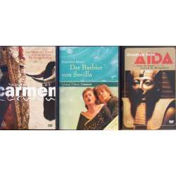 3 Popular operas on DVD. Carmen, Il barbiere di Siviglia, Aida. 3 DVD