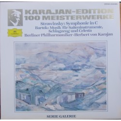 Stravinsky: Symfoni i C. & Bartok: Sonata for strings, percussion and celesta. Herbert von Karajan, Berlin PO. 1 LP. DG