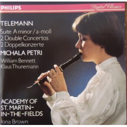 Telemann: 2 Double Concertos. Petri, Benneth, Thuneman, Brown. 1 CD. Philips