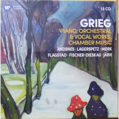 Grieg: Piano, Orchestral, Chamber and vocal works. 13 CD. Warner