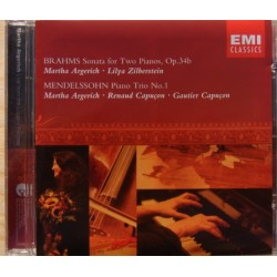 Mendelssohn: Klavertrio nr. 1. + Brahms: Sonate for to klaverer. Martha Argerich, Lilya Zilberstein. 1 CD. EMI