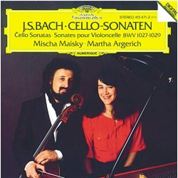 Bach: Cellosonate nr. 1, 2, 3. BWV 1027 - 1029. Mischa Maisky, Martha Argerich. 1 CD. DG
