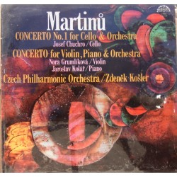 Martinu: Cello Concerto no. 1. + Concerto for violin and cello. Zdenek Kosler, Czech PO. 1 LP. Supraphon