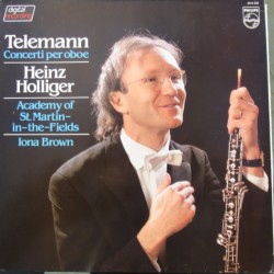 Telemann: Oboe Concertos. Heinz Holliger, Iona Brown, Academy of St. Martin in the Fields. 1 LP. Philips