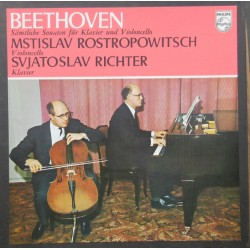 Beethoven: Cellosonate nr. 1-5 Mstislav Rostropovich, Sviatoslav Richter. 2 LP. Philips