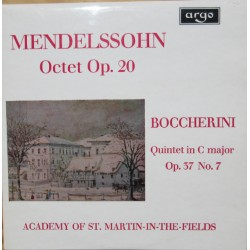 Mendelssohn: Oktet. & Boccherini: Quintet Op. 37. Academy of St. Martin in the Fields. 1 LP. Argo. ZRG 569