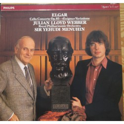 Elgar: Cello Concerto. + Enigma Variations. Jullian Lloyd-Webber, RPO, Menuhin. 1 LP. Philips