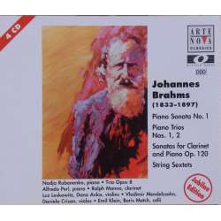 Brahms: Klaversonate nr. 1, Klavertrio nr. 1 og 2. Klarinet sonate. + sekstet. 4 CD. Arte Nova.