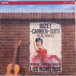 Bizet: Carmen suiter for 4 guitars. Los Romeros. 1 LP. Philips. Nyt eksemplar