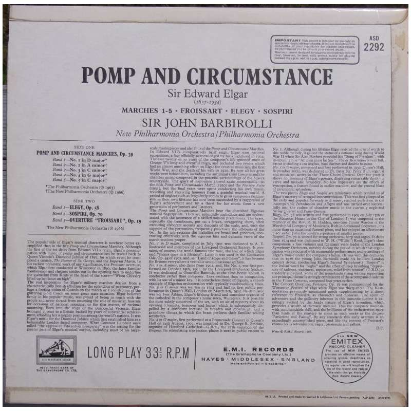 Elgar pomp and circumstance barbirolli new po lp emi for Pomp and circumstance