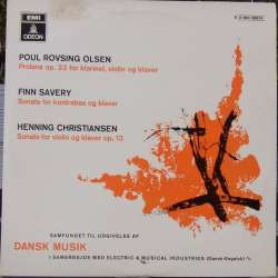 Rovsing Olsen: Prolane & Savery: Sonate for kontrabass og klaver. & Christiansen: Sonate for violin og klaver. 1 LP. EMI