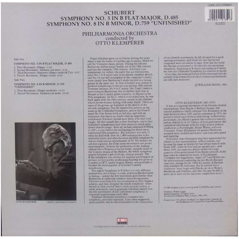 Schubert Otto Klemperer And The Philharmonia Orchestra Symphony No 9 In C Major The Great