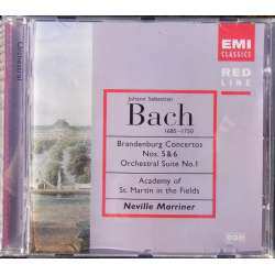 Bach: Brandenburgkoncert nr. 5 & 6 + Suite nr. 1. ASMF. Marriner. 1 CD. EMI. Red Line