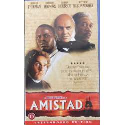 Amistad. Slavefilms drama med Anthony Hopkins, Morgan Freeman og Matthw MCConaughey. 1 VHS