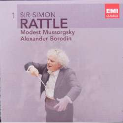 Mussorgsky: Pictures at an Exhibition. & Borodin: Symphony no. 2. + Polovtsian dances. Simon Rattle. BPO. 1 CD. EMI