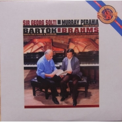 Bartok & Brahms: Sonate for 2 klaverer og slagtøj. Murray Perahia og Georg Solti, Evelyn Glennie & David Corkhill. 1 CD. Sony