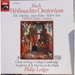 Bach: Christmas Oratorium. Ameling, Baker, Dieskau. King's College Choir, Academy of. St. Martin. Philip Ledger. 3 LP. EMI
