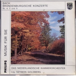 Bach: Brandenburgkoncert nr. 4, 5, 6. Hollanske kammerorkester. Szymon Goldberg. 1 LP. Philips