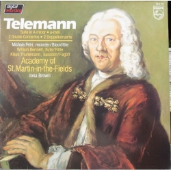 Telemann: 2 Double Concertos. Michala Petri, Bennett, Thunemann. Academy, Iona Brown. 1 LP. Philips