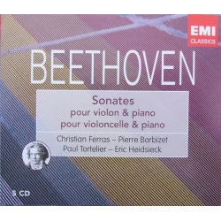 Beethoven: Violinsonate nr. 1-10. + Cellosonate nr. 1-5. Ferras, Tortelier, Barbizet. 5 cd. EMI