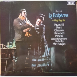 Puccini: la Boheme in highligts. Pavarotti, Freni. Karajan. 1 LP. Decca. SET 579