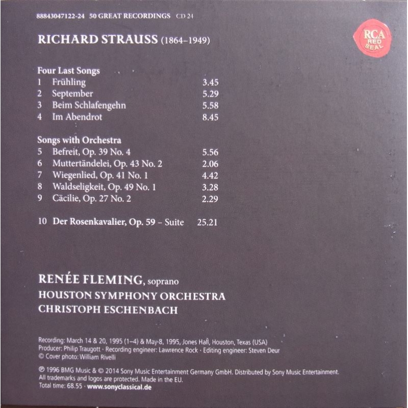 Richard Strauss 4 Last Songs Renée Fleming Cd Plade