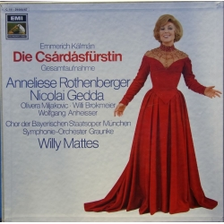 Kalman: Csardasfyrstinden. Rothenberger, Gedda, Willy Mattes. 2 LP. EMI