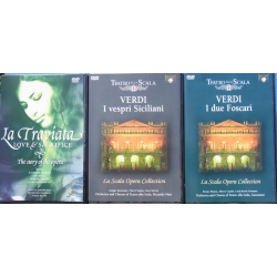 3 Verdi Operas on DVD. La Traviata, I Vespri Sicillani, I Duo Foscari. 3 DVD