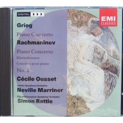 Grieg & Rachmaninov: Piano Concertos. Ousset, Marriner, Rattle. 1 CD. EMI