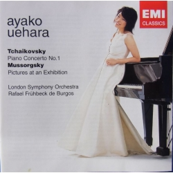 Tchaikovsky: Piano Concerto no. 1. & Mussorgsky: Pictures at an Exhibition. Uehara, de Bürgos. 1 CD. EMI
