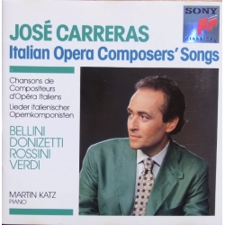 Jose Carreras: Italian opera composers songs. Rossini, Donizetti, Bellini, Verdi. Martin Katz (piano). 1 CD. Sony.