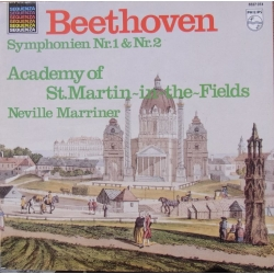 Beethoven: Symphonies nos. 1 & 2. Neville Marriner, Academy of St. Martin in the Fields. 1 LP. Philips