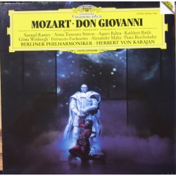 Mozart: Don Giovanni. (highlights) Herbert von Karajan. Ramey, Tomowa-Sintow, Baltsa, Battle, Winbergh, Furlanetto, BPO. 1 LP.