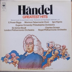 Handel: Greatest Hits. Water music, Largo, kukuret, Hallelujah. Sir Adrian Boult. 1 LP. CBS