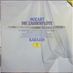 Mozart: The Magic Flute. Herbert von Karajan, Edith Mathis, Anna Tomowa-Sintow, Agnes Baltsa, Araiza, van Dam. 3 LP. DG