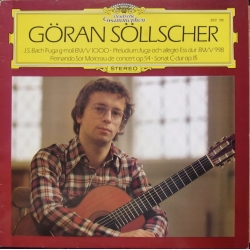 Göran Söllscher spiller Bach for guitar. Fuga G-moll BWV 1000, Preludium, fugue and allegro, BWV 998. 1 LP. DG. 2531195
