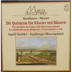 Beethoven & Mozart: Quintets for piano and wind instruments. Ingrid Haebler, Bamberger Bläserquintett. 1 LP. Philips. New copy.
