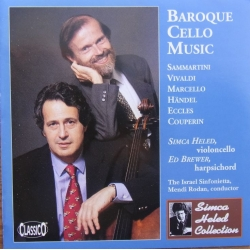 Barok cello musik af Sammartini, Vivaldi, Marcello, Handel. Eccles, Couperin. Simca Heled & Eo Brewer. 1 CD. Classico