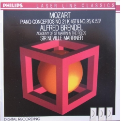 Mozart: Klaverkoncert nr. 21 & 26. Alfred Brendel, Neville Marriner, Academy of St. Martin in the Fields. 1 CD. Philips