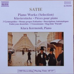 Satie. 3 Gymnopedies. Klara Kormendi. 1 CD. Naxos