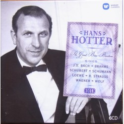 Hans Hotter. The Great Bass-Baritone. Bach, Brahms, Schubert, Schumann, Loewe, Strauss, Wagner, Wolf. 6 CD. Warner