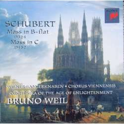 Schubert: Mass in B-flat. & Mass in C. Bruno Weil, Wiener Sangerknaben + Orchestra og the Age of Enlightment. 1 CD Sony.