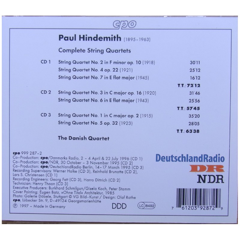 Paul Hindemith: Complete String Quartets  (CD) plade
